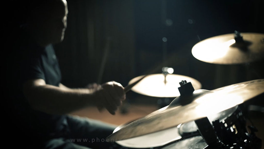 Justin recording drums for a client.